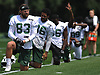 Eric Tomlinson #83 of the New York Jets stretches during team practice at the Atlantic Health Jets Training Center in Florham Park, NJ on Saturday, July 28, 2018.