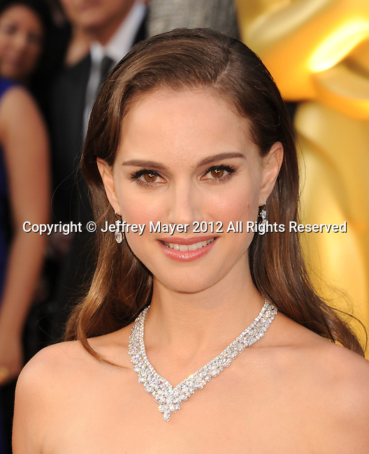 HOLLYWOOD, CA - FEBRUARY 26: Natalie Portman  arrives at the 84th Annual Academy Awards held at the Hollywood & Highland Center on February 26, 2012 in Hollywood, California.