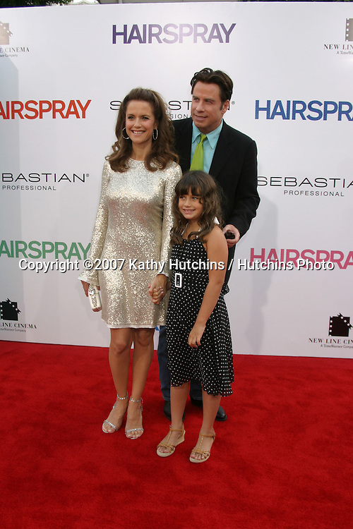 "Kelly Preston, John Travolta & daughter Ella.""Hairspray"" Movie Premiere.Mann's Village Theater.Westwood, CA.July 10, 2007.©2007 Kathy Hutchins / Hutchins Photo..."