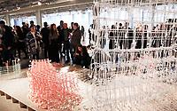 Nederland  Eindhoven 2017 . DDW. Dutch Design Week.  Expositie in de Witte Dame.  Graduation Show. Standing Textiles van Fransje Gimbrere. Foto Berlinda van Dam / Hollandse Hoogte
