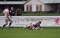 Rory Hughes of London Scottish Football Club scores a try during the Greene King IPA Championship match between London Scottish Football Club and Ealing Trailfinders at Richmond Athletic Ground, Richmond, United Kingdom on 26 December 2015. Photo by Alan  Stanford / PRiME Media Images
