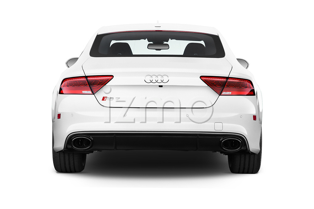 Straight rear view of 2015 Audi RS7  quattro tiptronic Prestige 5 Door Hatchback stock images