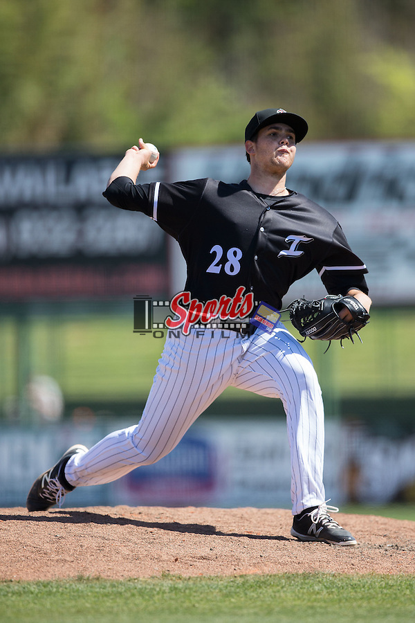 Kannapolis Intimidators relief pitcher Yelmison Peralta (28) in action against the Delmarva Shorebirds at Kannapolis Intimidators Stadium on April 13, 2016 in Kannapolis, North Carolina.  The Intimidators defeated the Shorebirds 8-7.  (Brian Westerholt/Four Seam Images)