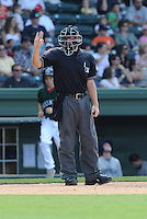 Umpire Morgan Day works a game between the Asheville Tourists and Greenville Drive on Sunday, August 26, 2012, at Fluor Field at the West End in Greenville, South Carolina. (Tom Priddy/Four Seam Images)