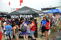 Jun. 29, 2012; Joliet, IL, USA: NHRA fans at the Toyota display during qualifying for the Route 66 Nationals at Route 66 Raceway. Mandatory Credit: Mark J. Rebilas-