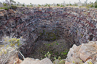 A view of Devil's Throat Crater off of Chain of Craters Road, Hawai'i Volcanoes National Park, Big Island.