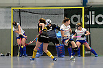 Mannheim, Germany, January 27: During the 1. Bundesliga Damen Hallensaison 2017/18 quarterfinal hockey match between Mannheim HC (white) and Harvestehuder THC (yellow/black) on January 27, 2018 at Irma-Roechling-Halle in Mannheim, Germany. Final score 2-7 (HT 1-4). (Photo by Dirk Markgraf / www.265-images.com) *** Local caption ***