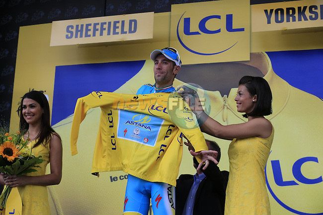Vincenzo Nibali (ITA) Astana wins the stage and takes over the leader's Yellow Jersey after Stage 2 of the 2014 Tour de France running 200km from York to Sheffield. 6th July 2014.<br /> Picture: Eoin Clarke www.newsfile.ie