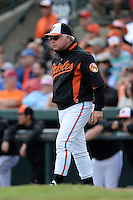 Baltimore Orioles manager Buck Showalter (26) during a spring training game against the Philadelphia Phillies on March 7, 2014 at Ed Smith Stadium in Sarasota, Florida.  Baltimore defeated Philadelphia 15-4.  (Mike Janes/Four Seam Images)