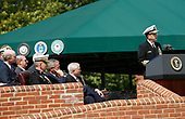 The in-coming Chairman of the Joint Chiefs of Staff US Navy Admiral Michael Mullen makes remarks makes remarks at an Armed Forces Change of Command ceremony and official Hail and Farewell tribute attended by US President George W. Bush in his honor and for out-going Chairman of the Joint Chiefs of Staff US Marine Corps General Peter Pace at Fort Myer, Virginia on October 1, 2007.<br /> Credit: Aude Guerrucci / Pool via CNP