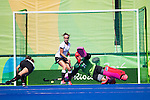 Jackie Briggs #31 of United States dives to try and save during USA vs Germany in a women's quarterfinal game at the Rio 2016 Olympics at the Olympic Hockey Centre in Rio de Janeiro, Brazil.