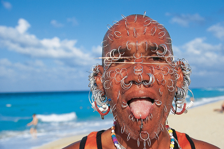 Cuba Playa Del Este The Earring Man An Extravagantly Pierced Cuban Beach Character