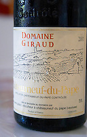 Domaine Giraud, Chateauneuf-du-Pape. Rhone. France Europe. Bottle.