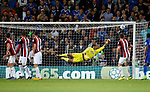 Jamal Blackman of Sheffield Utd pushes a free kick around the post during the Championship match at the Cardiff City Stadium, Cardiff. Picture date: August 15th 2017. Picture credit should read: Simon Bellis/Sportimage