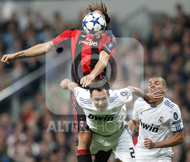 Real Madrid's Ricardo Carvalho and Milan's Zlatan Ibrahimovic during champions league match ..Photo: Cesar Cebolla  / ALFAQUI