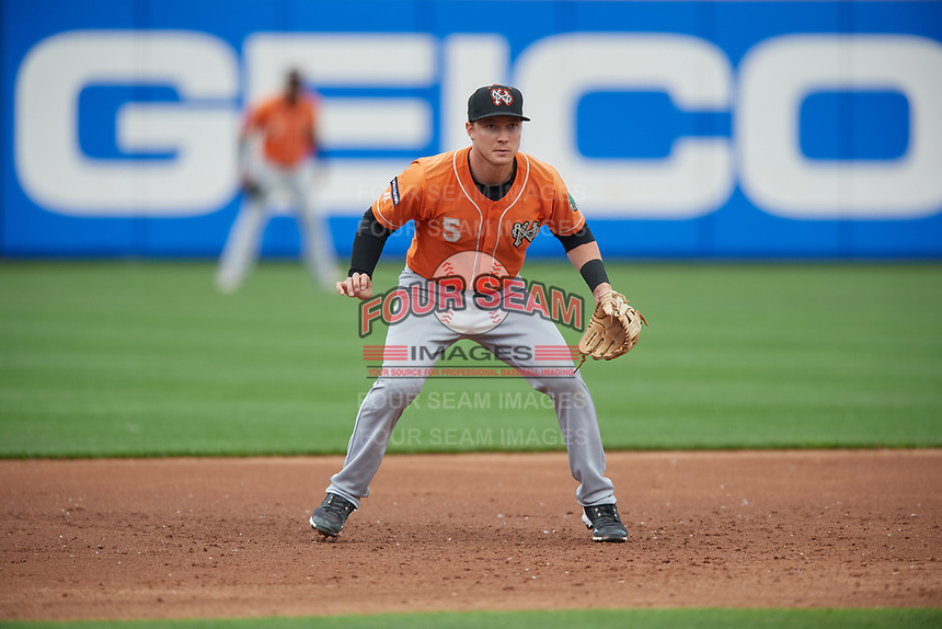 Norfolk Tides third baseman Zach Vincej (5) during an International League game against the Buffalo Bisons on June 21, 2019 at Sahlen Field in Buffalo, New York.  Buffalo defeated Norfolk 2-1, the first game of a doubleheader.  (Mike Janes/Four Seam Images)