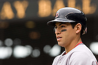 July 23, 2008: Boston Red Sox outfielder Jacoby Ellsbury preps in the on-deck circle before leading off the game against the Seattle Mariners' Felix Hernandez.