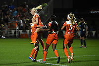 Kansas City, MO - Saturday May 07, 2016: Houston Dash midfielder Denise O'Sullivan (13) celebrates with defender Allysha Chapman (15) after scoring a goal against FC Kansas City during a regular season National Women's Soccer League (NWSL) match at Swope Soccer Village.