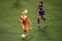 Orlando, FL - Thursday June 23, 2016: Denise O'Sullivan, Kristen Edmonds during a regular season National Women's Soccer League (NWSL) match between the Orlando Pride and the Houston Dash at Camping World Stadium.