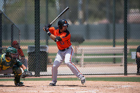 San Francisco Giants Orange second baseman Hector Santiago (43) at bat during an Extended Spring Training game against the Oakland Athletics at the Lew Wolff Training Complex on May 29, 2018 in Mesa, Arizona. (Zachary Lucy/Four Seam Images)