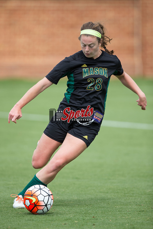 Erin Mitchell (28) of the George Mason Patriots controls the ball during second half action against the Wake Forest Demon Deacons at Spry Soccer Stadium on September 13, 2015 in Winston-Salem, North Carolina.  The Demon Deacons defeated the Patriots 1-0.  (Brian Westerholt/Sports On Film)