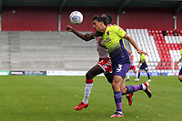 Craig Woodman of Exeter City and Emmanuel Sonupe of Stevenage during Stevenage vs Exeter City, Sky Bet EFL League 2 Football at the Lamex Stadium on 10th August 2019