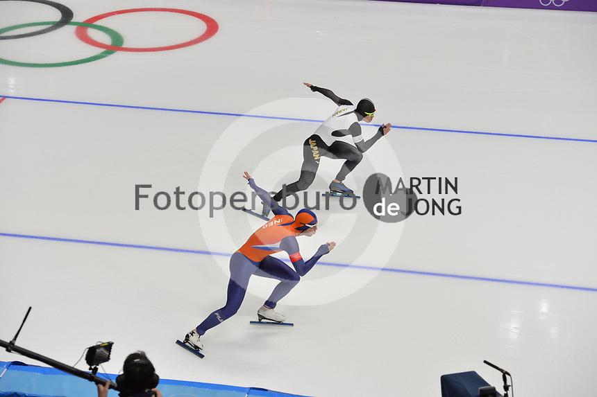 OLYMPIC GAMES: PYEONGCHANG: 19-02-2018, Gangneung Oval, Long Track, 500m Men, Kai Verbij (NED), Daichi Yamanaka (JPN), ©photo Martin de Jong