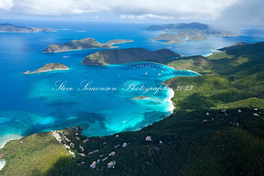 Aerial view of St. John's North Shore.Showing Cinnamon Bay, Maho Bay and Francis Bay.Virgin Islands National Park.St. John, U.S. Virgin Islands