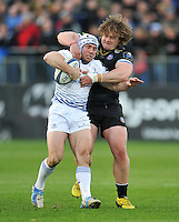 Isaac Boss of Leinster Rugby is tackled by Nick Auterac of Bath Rugby. European Rugby Champions Cup match, between Bath Rugby and Leinster Rugby on November 21, 2015 at the Recreation Ground in Bath, England. Photo by: Patrick Khachfe / Onside Images