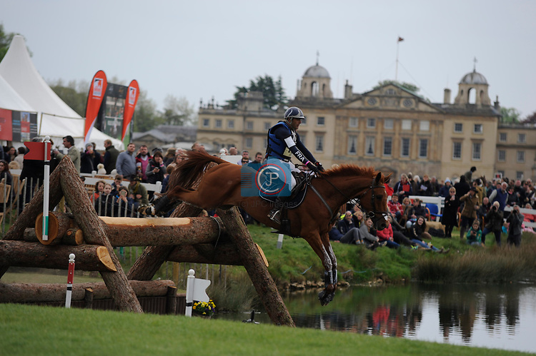 6th May 2017, Cedric Lyard riding Qatar du Puech Rouget during the Cross Country phase of the 2017 Mitsubishi Motors Badminton Horse Trials, Badminton House, Bristol, United Kingdom. Jonathan Clarke/JPC Images