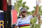 World Champion Alejandro Valverde (ESP) Movistar Team at sign on before the start of Stage 4 of La Vuelta 2019 running 175.5km from Cullera to El Puig, Spain. 27th August 2019.<br /> Picture: Eoin Clarke | Cyclefile<br /> <br /> All photos usage must carry mandatory copyright credit (© Cyclefile | Eoin Clarke)