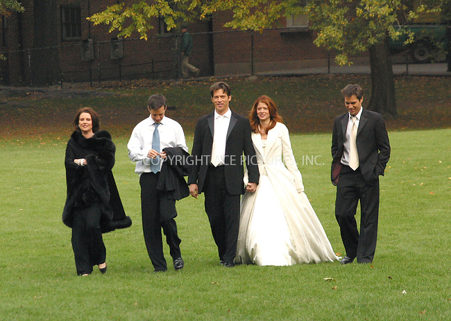"""Debra Messing, Harry Connick Jr., Eric McCormack, Sean Hayes and Megan Mullally are filming """"Will & Grace"""" in Central Park, New York. November 4, 2002. Please byline: Alecsey Boldeskul/NY Photo Press.   ..*PAY-PER-USE*      ....NY Photo Press:  ..phone (646) 267-6913;   ..e-mail: info@nyphotopress.com"""