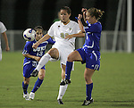 7 November 2007: Wake Forest's Bess Harrington (center) plays the ball between Duke's Lorraine Quinn (13) and Jane Alukonis (5). Wake Forest University defeated Duke University 1-0 in overtime at the Disney Wide World of Sports complex in Orlando, FL in an Atlantic Coast Conference tournament quarterfinal match.