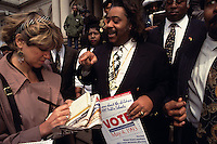 (930406-SWR02) NEW YORK, NY -- 2MAY92 --The Reverend Al Sharpton, wearing his trademark medallion,  speaks with the media on the steps of City Hall about his endorsements in the local school board elections.© Stacy Walsh Rosenstock