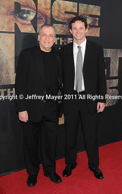 "HOLLYWOOD, CA - JULY 28: Joe Letteri and Dan Lemmon arrive at the ""Rise Of The Planet Of The Apes"" Los Angeles Premiere at Grauman's Chinese on July 28, 2011 in Hollywood, California."