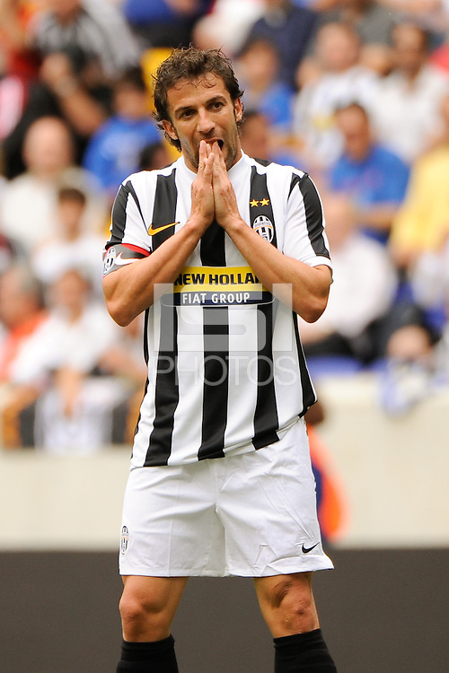 Alessandro Del Piero (10) of Juventus F. C. reacts to a missed scoring oportunity. The New York Red Bulls defeated Juventus F. C. 3-1 during a friendly at Red Bull Arena in Harrison, NJ, on May 23, 2010.