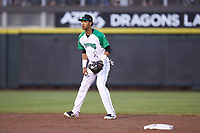 Dayton Dragons shortstop Jose Garcia (15) on defense against the Bowling Green Hot Rods at Fifth Third Field on June 8, 2018 in Dayton, Ohio. The Hot Rods defeated the Dragons 11-4.  (Brian Westerholt/Four Seam Images)