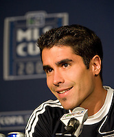 Juan Pablo Angel speaks at the press conference following during MLS Cup 2008. Columbus Crew defeated the New York Red Bulls, 3-1, Sunday, November 23, 2008. Photo by John Todd/isiphotos.com