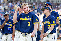 Michigan Wolverines outfielder Miles Lewis (3) before Game 3 of the NCAA College World Series Finals on June 26, 2019 at TD Ameritrade Park in Omaha, Nebraska. Vanderbilt defeated Michigan 8-2 to win the National Championship. (Andrew Woolley/Four Seam Images)