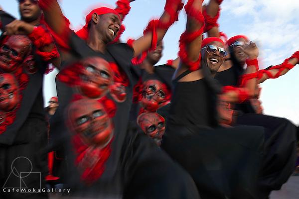 "Trinidad Carnival 2012, Brian Macfarlane's band 'Sanctification"" dancing men play Sheol"