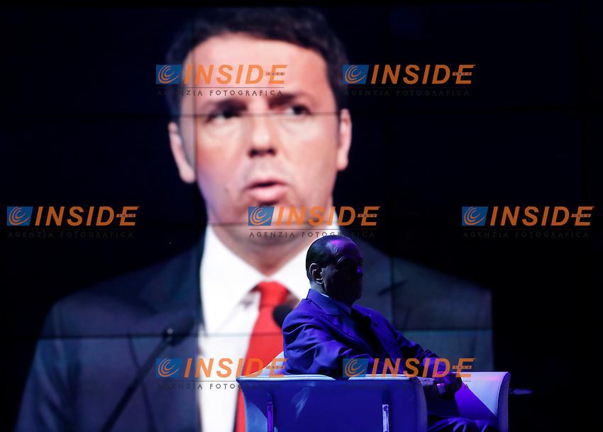 Silvio Berlusconi e in video Matteo Renzi<br /> Roma 12-11-2015 Studi Rai via Teulada. Trasmissione Porta a Porta. Tv Show Porta a Porta.<br /> Photo Samantha Zucchi Insidefoto