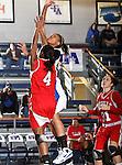 Texas - Arlington Mavericks guard Michelle Rodriquez (23) goes up for a lay up over Nicholls State University Colonels forward Jasmine Hoskins (4) in the game between the UTA Mavericks and the  Nicholls State University Colonels  held at the University of Texas in Arlington's Texas Hall in Arlington, Texas. UTA defeats Nicholls 69 to 62
