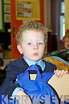 Tom McCarthy gets his bag ready to go home during his first day at school in Castleisland Presentation on Thursday