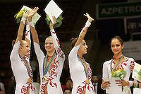 Russia wins team gold in rhythmic gymnastics at World Championships in Baku, Azerbaijan, October 6, 2005.   (L-R) Vera Sessina, Olga Kapranova, Svetlana Puntintsieva, Irina Tchachina.  (Photo by Tom Theobald)
