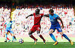 Liverpool's Sadio Mane in action with Arsenal's Rob Holding (R) during the premier league match at Anfield Stadium, Liverpool. Picture date 27th August 2017. Picture credit should read: Paul Thomas/Sportimage