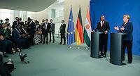 Berlin, 20130508CB031, Bundeskanzlerin Angela Merkel (CDU) und der Staatspräsident der Republik Niger, Mahamadou Issoufou, am Mittwoch (08.05.13) im Bundeskanzleramt in Berlin bei einer Pressebegegnung