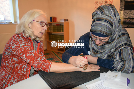 Norwich, UK, 11 November 2017. Open Day at the Rose Lane Mosque, Norwich. Henna tattoo painting. This communal event allows the wider community to visit and learn about Islam and the way of life of 5% of the UK population. Credit Liz Somerville/Alamy Live News