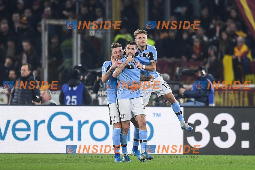 Francesco Acerbi of Lazio  celebrates after scoring a goal Roma 26-01-2020 Stadio Olimpico <br /> Football Serie A 2019/2020 <br /> AS Roma - SS Lazio<br /> Foto Antonietta Baldassarre / Insidefoto