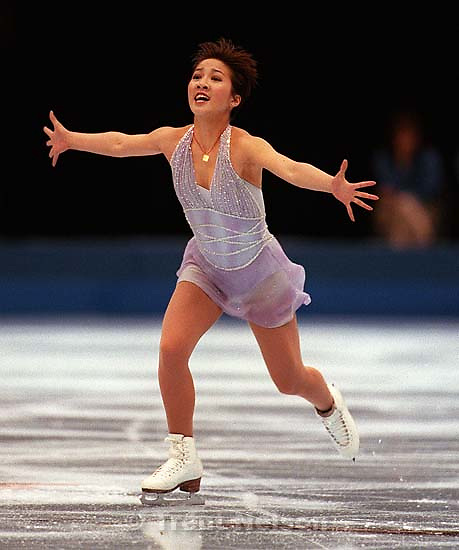 Michelle Kwan competes in the Ladies Free Program at the U.S. Figure Skating Championships.<br />