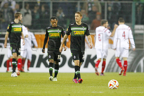 26.02.2015. Moenchengladbach , Germany. Europea League football Borussia Moenchengladbach versus Seville in Borussia-Park. Raffael (Borussia Moenchengladbach) and Max Kruse (Borussia Moenchengladbach)